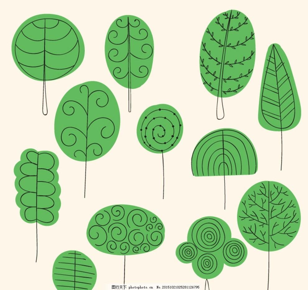 绿色手绘树木矢量素材 绿色 手绘 树木 大树 植物 花纹 底纹 装饰