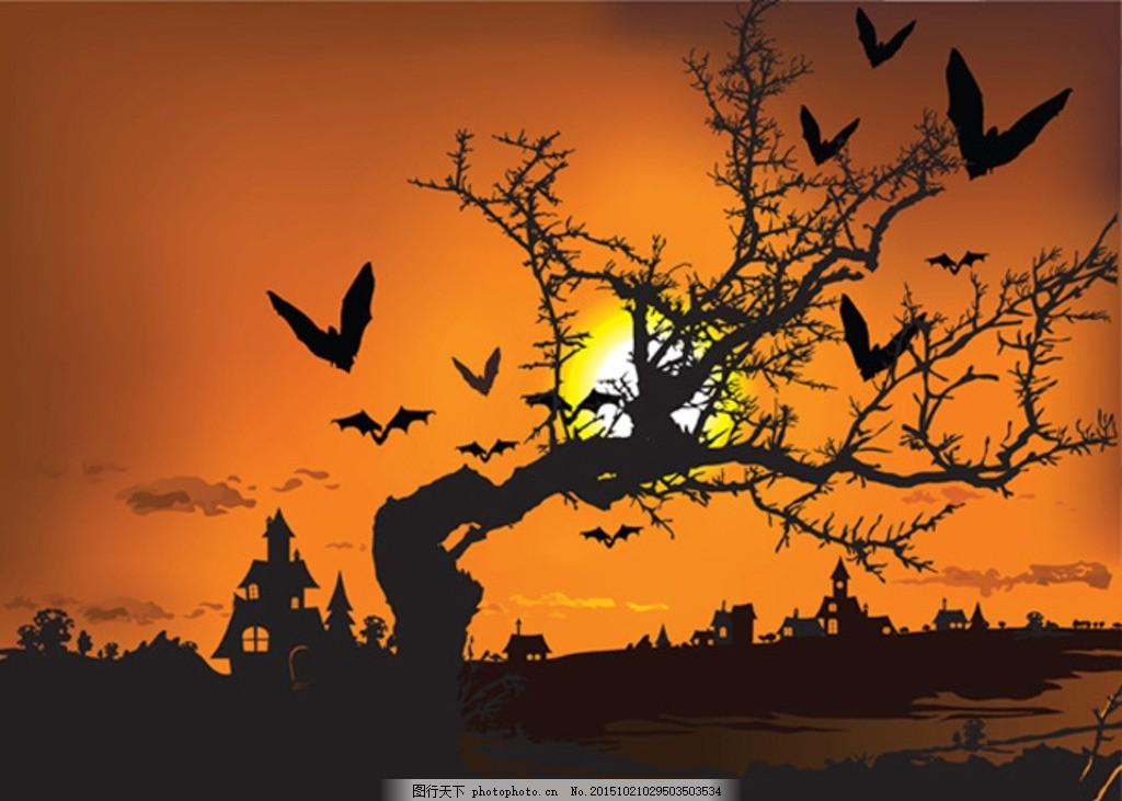 颓废风景剪影 秋天 秋季 秋景 枯黄 落叶 树林 凋零 植物 枯枝
