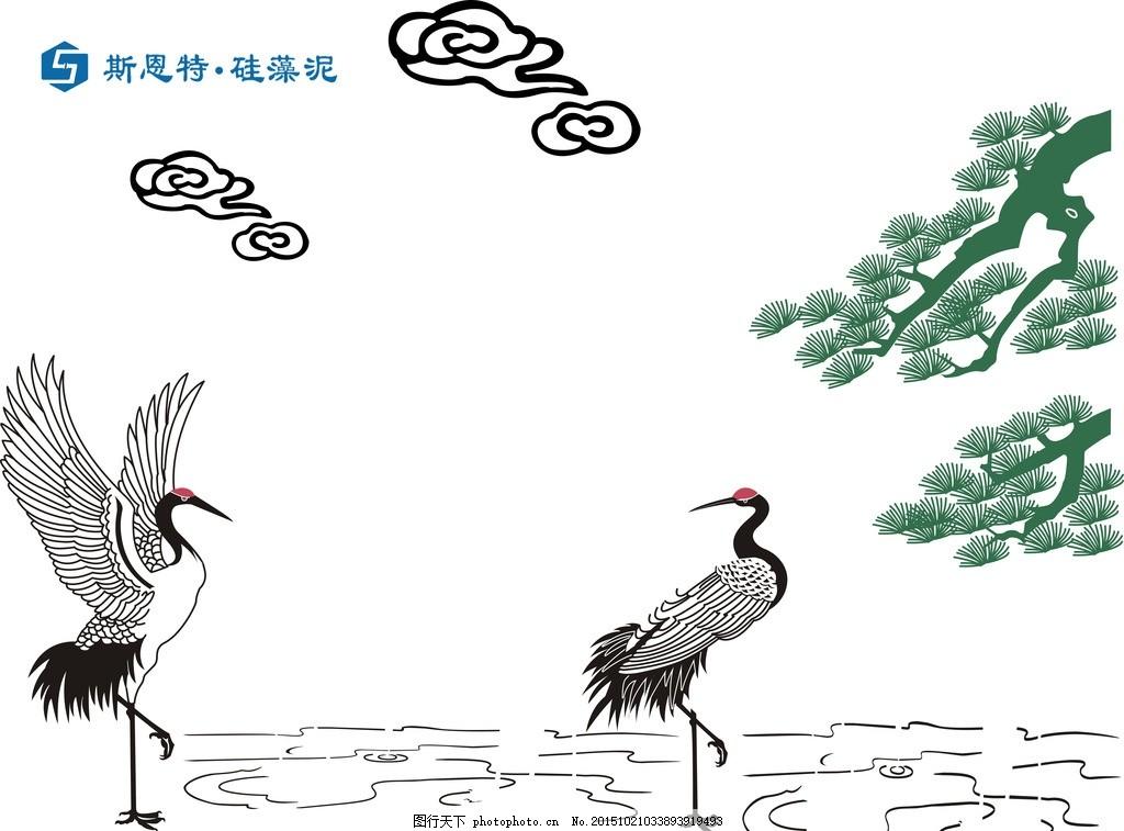 鹤矢量图 鹤 松树 矢量图 斯恩特 硅藻泥 斯恩特矢量图 硅藻泥矢量图