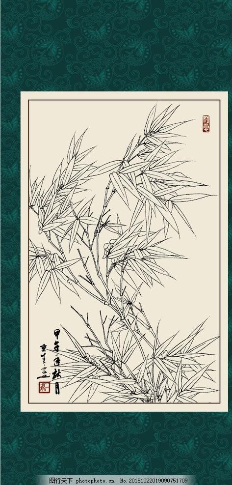 竹子,绘画 白描 线描 手绘 国画 毛笔画 工笔 轮廓-图