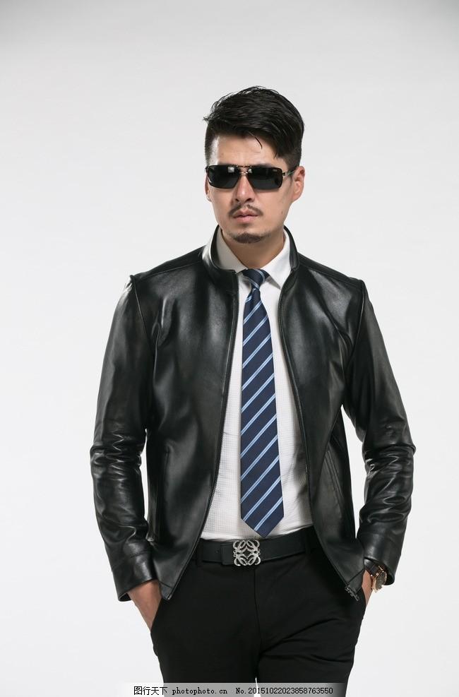 男装皮衣 模特 男模 墨镜 淘宝 写真 时尚 皮装 摄影