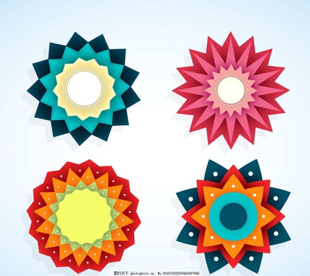 彩色花形标签矢量素材 图标 花边 图案 装饰 卡片 插画 背景