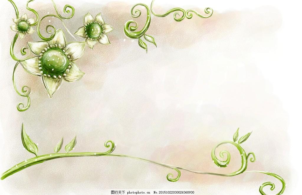 绿色 花藤 花边 背景 海报 简笔 花 花纹 小花 彩绘 画册 宣传单 名片