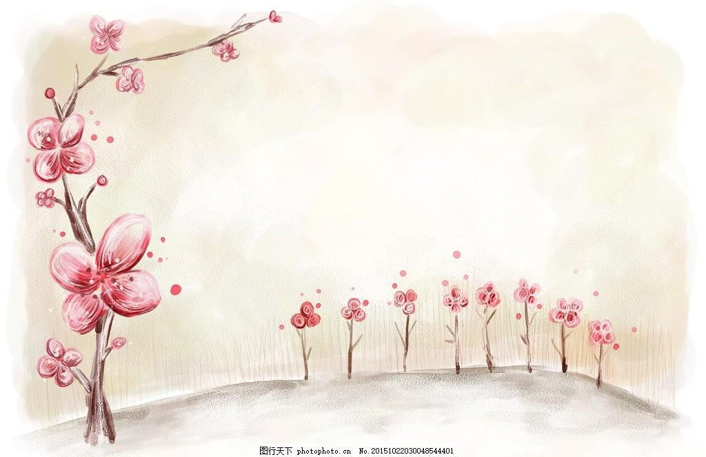 桃花 简笔 花边 花 花纹 小花 背景 彩绘 画册 海报 宣传单 名片 贺卡
