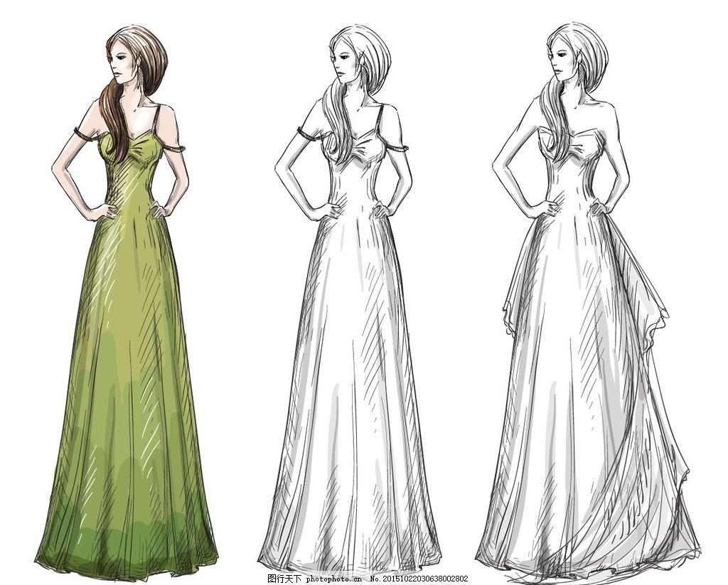 服装设计手稿,手绘模特 手绘稿 效果图-图行天下图库