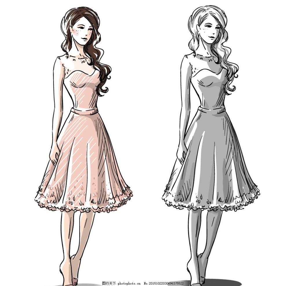 服装设计手稿 手绘模特 手绘稿 效果图