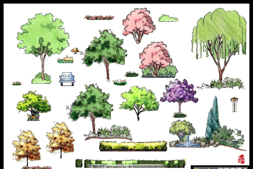 手绘彩色平面树立面树分层素材