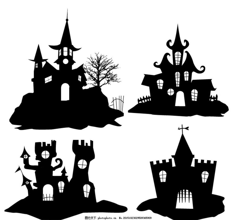 万圣古堡剪影 僵尸 巫师 南瓜人 科学怪人 恐怖 万圣节猫头鹰 女巫