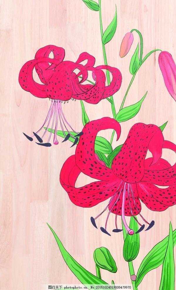 花 板绘 手绘 墙绘 花卉 现代 设计 文化艺术 绘画书法 28dpi jpg