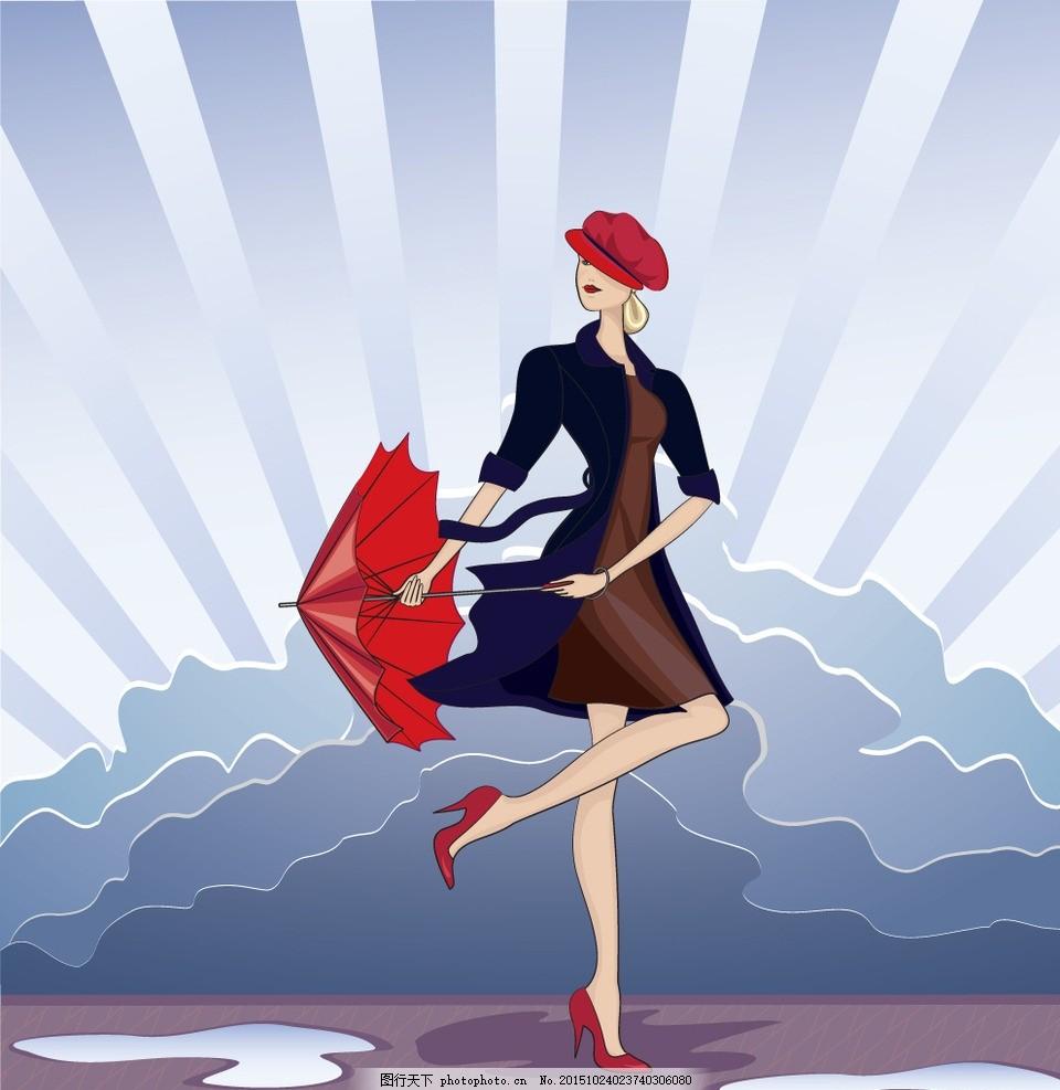 时尚少女 手绘美女 女孩 女人 女性 服装设计 模特 草图 卡通女生