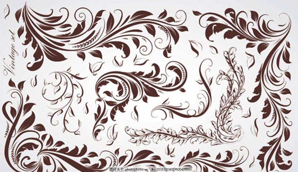 欧式时尚花纹系列矢量素材 植物 藤蔓 花纹底纹 图腾 古典 华丽