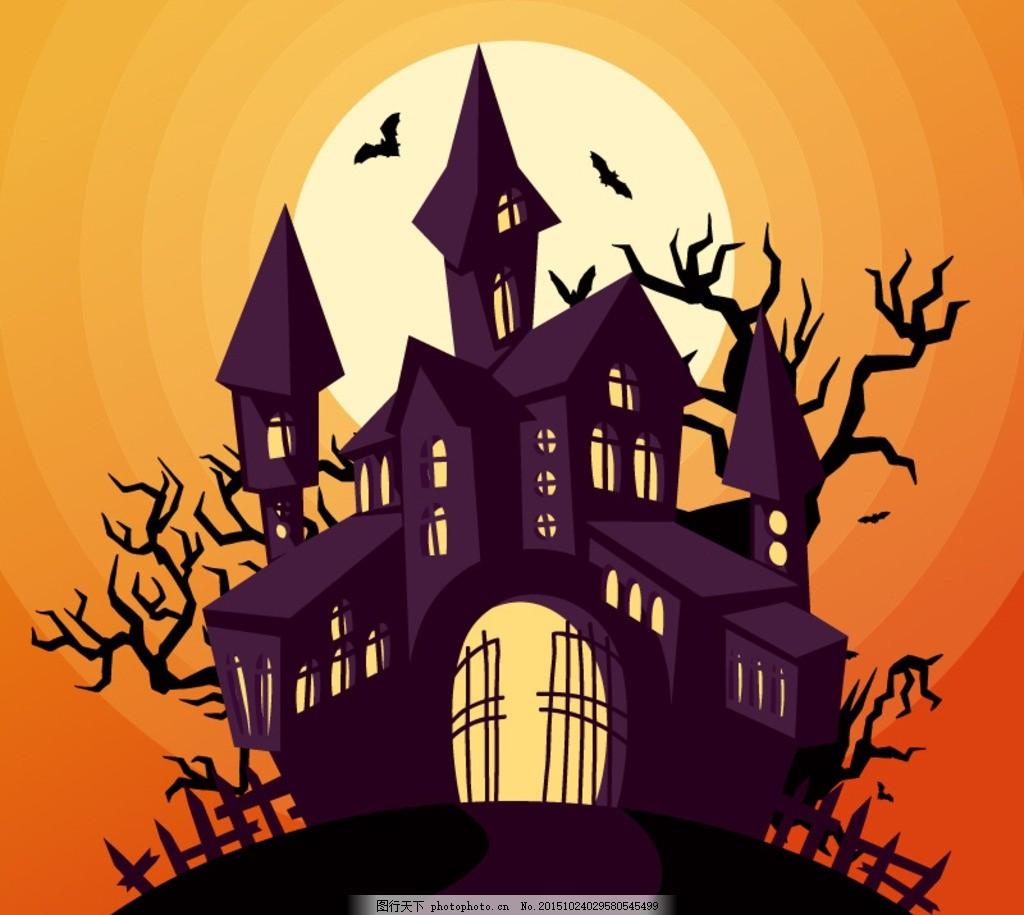 万圣节古堡设计 僵尸 巫师 南瓜人 科学怪人 恐怖 万圣节猫头鹰 女巫