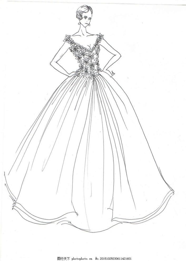 礼服设计 服装 婚纱 蕾丝面料 线稿