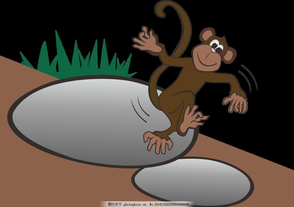 卡通小猴 小猴矢量图 可爱小猴 猴图案 舞蹈小猴 设计 底纹边框 条纹