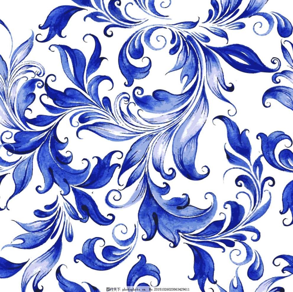 青花瓷 中国风 淡蓝色 花朵 白底 设计 底纹边框 其他素材 eps