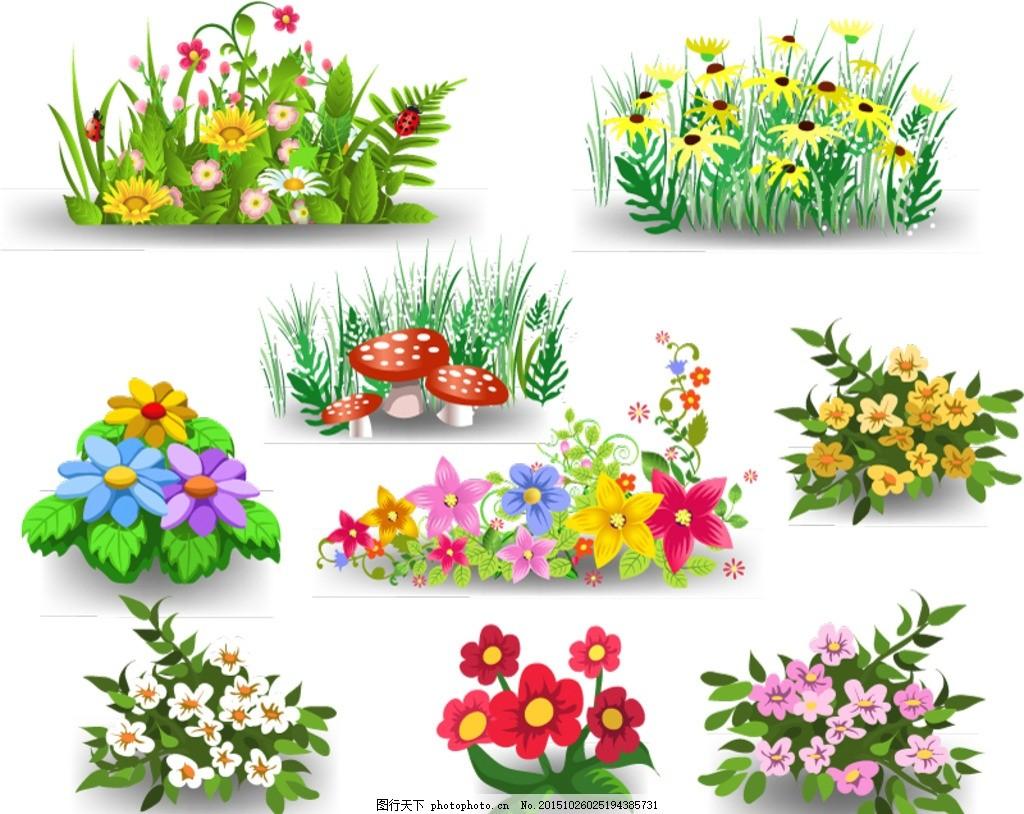 设计矢量素材 卡通 花丛 花卉 花朵 植物 鲜花 草地 草丛 小草 蘑菇