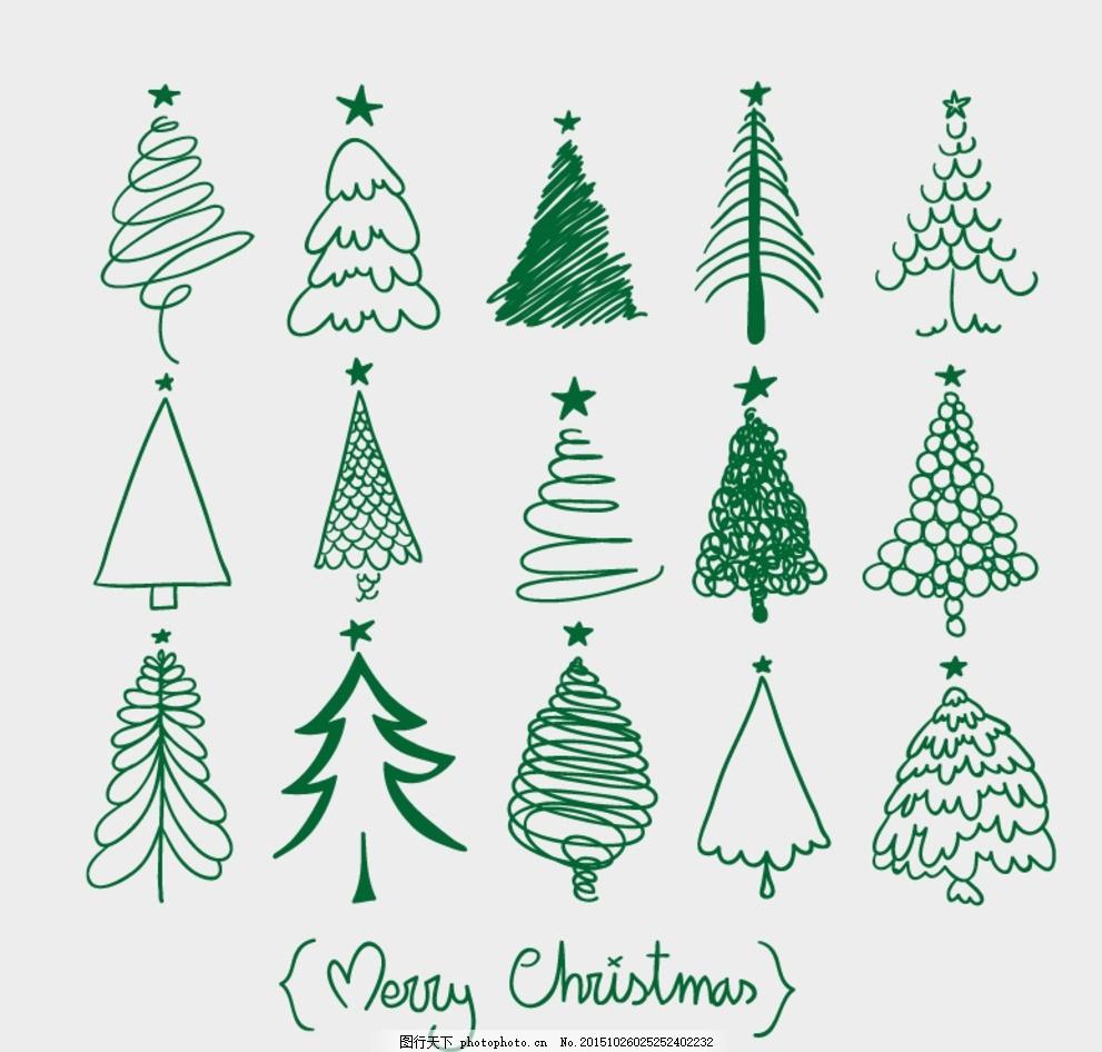 圣诞节 圣诞树 树木 大树 植物 艺术字 字体 线绘 线描 插画 背景