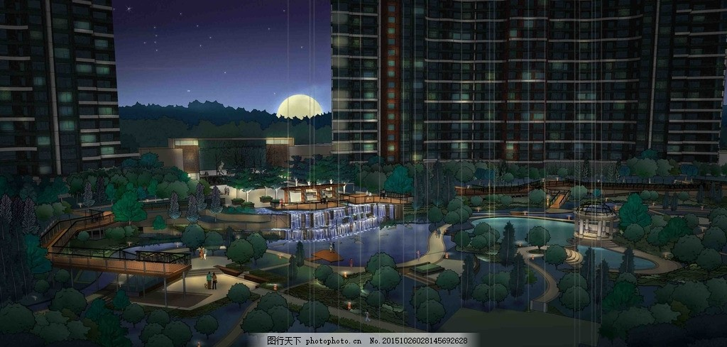 夜景小区 中心景观 水景 小区景观设计 欧式