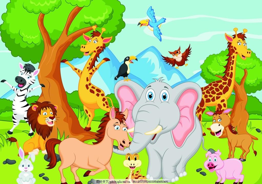 卡通动物 森林 大象 长颈鹿 蛇 猴子 海豚 斑马 矢量素材 兔子