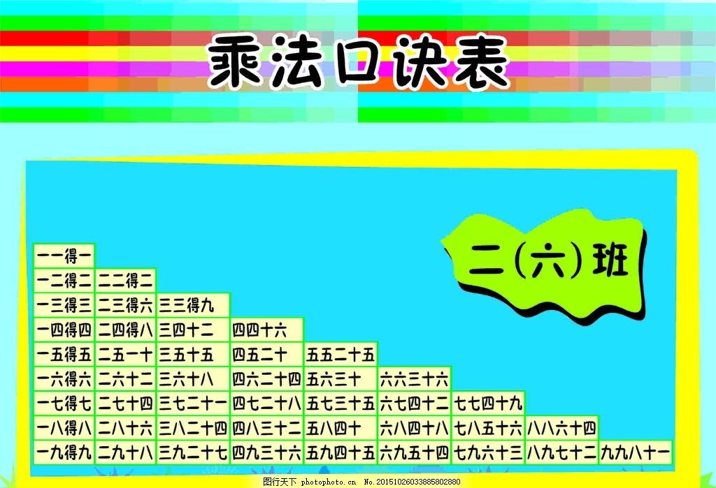 乘法口诀 口诀 乘法 口诀表 乘法口诀表 设计 其他 图片素材 cdr