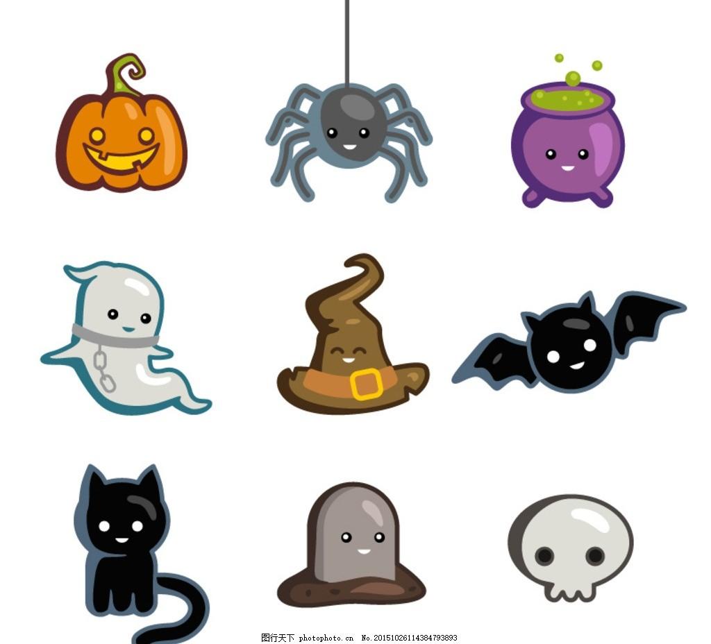 木乃伊 黑猫 万圣节背景 魔鬼 白色幽灵 平面素材 设计 标志图标 其他