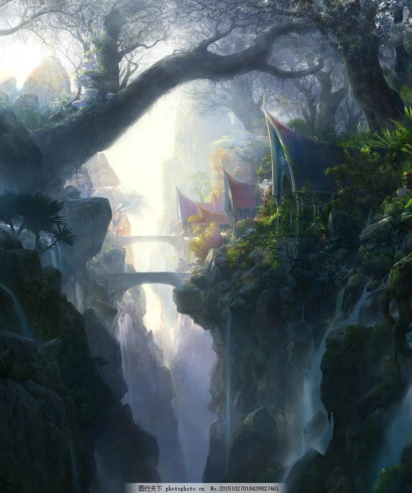 山间场景 山间 场景 cg 手绘 魔幻 树 设计 动漫动画 风景漫画 72dpi