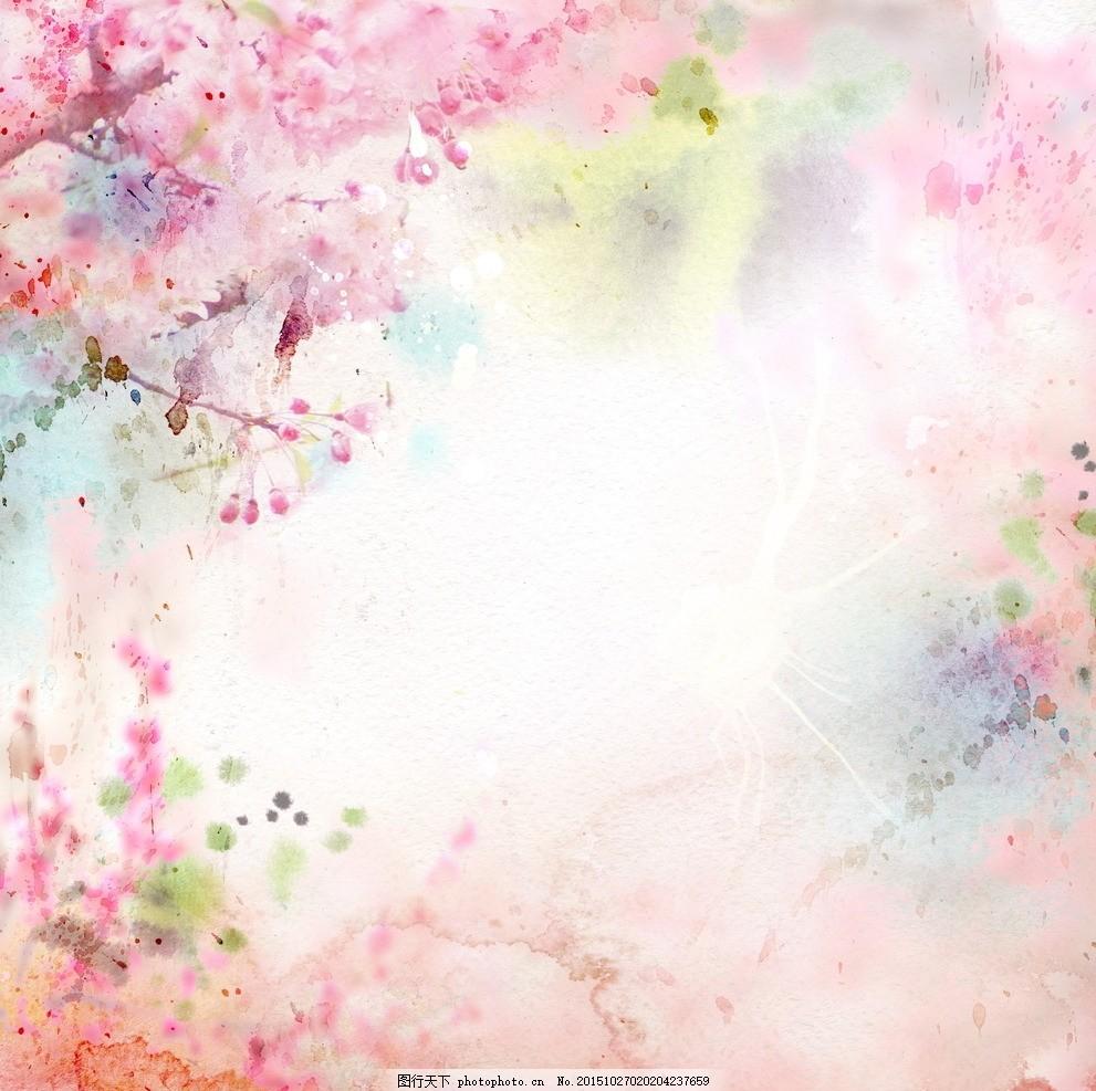 梦幻水粉春天 粉色 粉色花朵 梦幻 梦幻春天 春季 水墨 水粉 水粉画