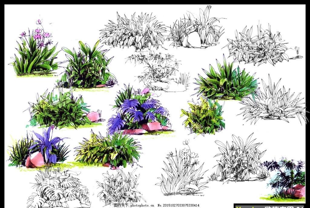 手绘彩色立面树灌木丛分层素材图