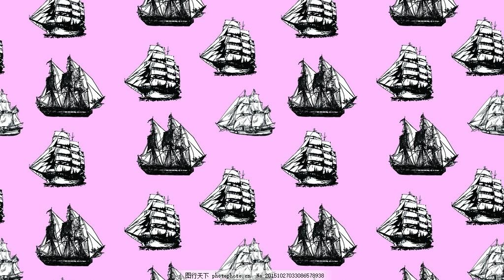 设计图库 psd分层 其他  手绘帆船 剪影 黑白镂空 各种船 帆船 帆船