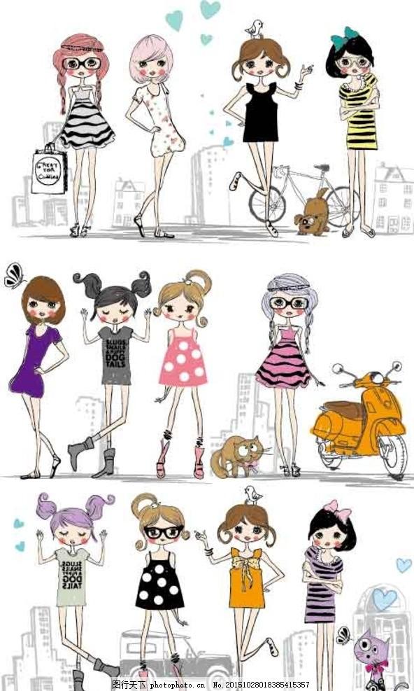时尚女孩 手绘美女 少女 女人 女性 服装设计 模特 草图 杂志封面