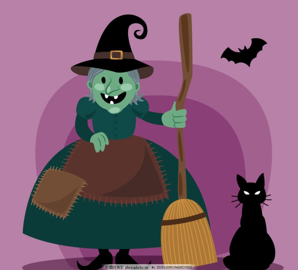 素材 万圣节 女巫 巫婆 扫帚 巫师帽 蝙蝠 黑猫 节日 卡片 插画 背景
