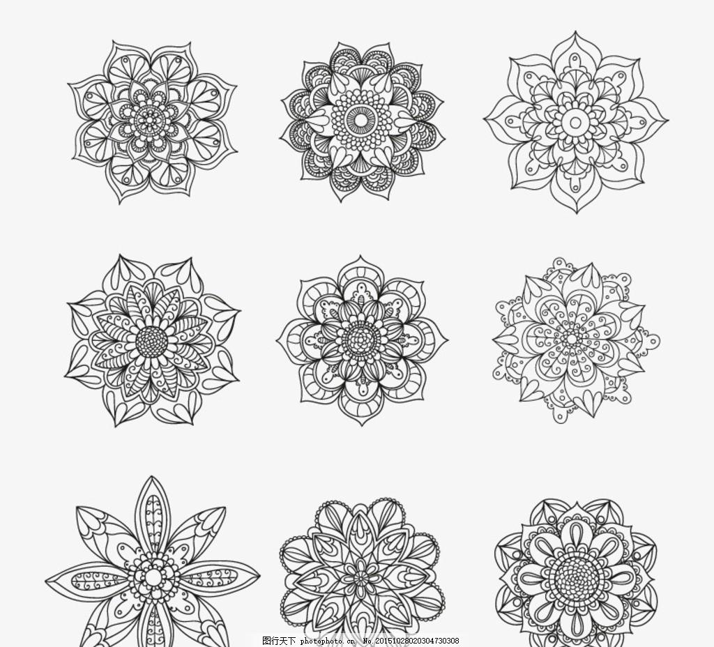 手绘花纹矢量素材 底纹 花卉 花朵 图案 装饰 卡片 插画 背景