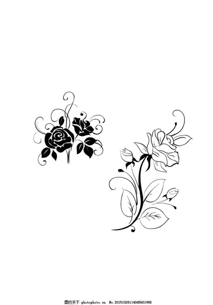 黑白玫瑰素材