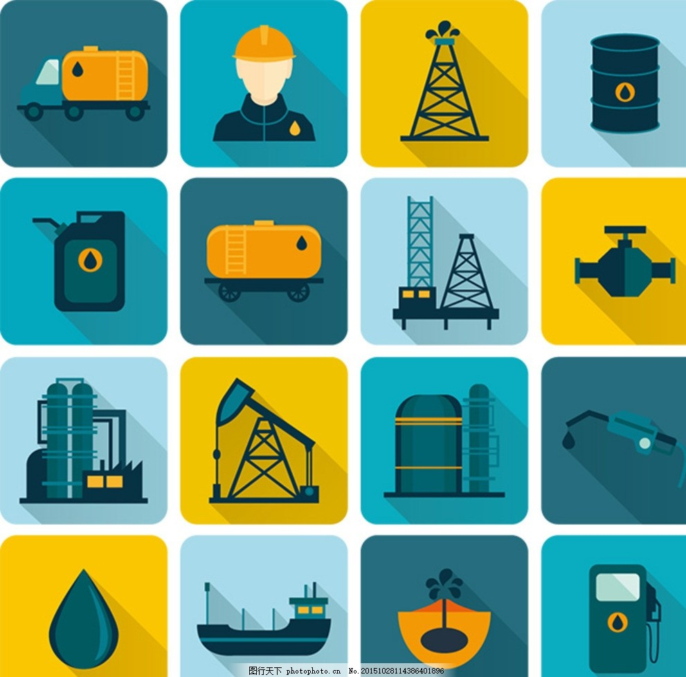 工业图标 工业设计 扁平化 工业标志 油田 油田图标 标志图标