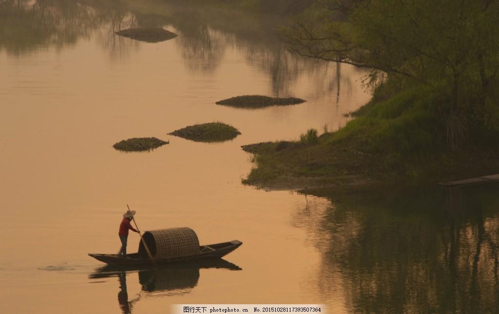 晚霞鱼翁 夜色 湖边 打鱼 摄影 自然景观 田园风光