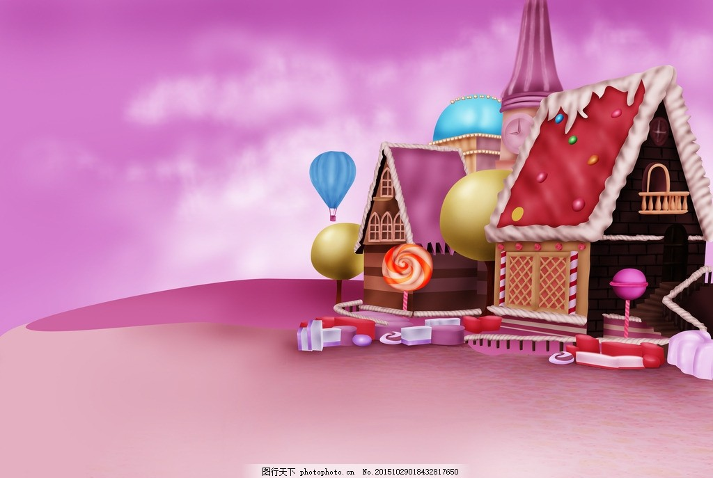 糖果屋 卡通 动漫 绘画 手绘 房子 背景 可爱 漂亮 粉色 粉红