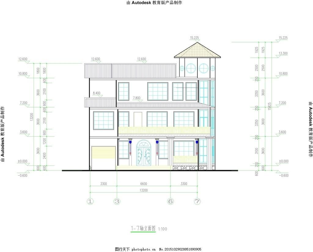 小型别墅 两层 欧式 中式 施工图 设计 环境设计 施工图纸 dwg