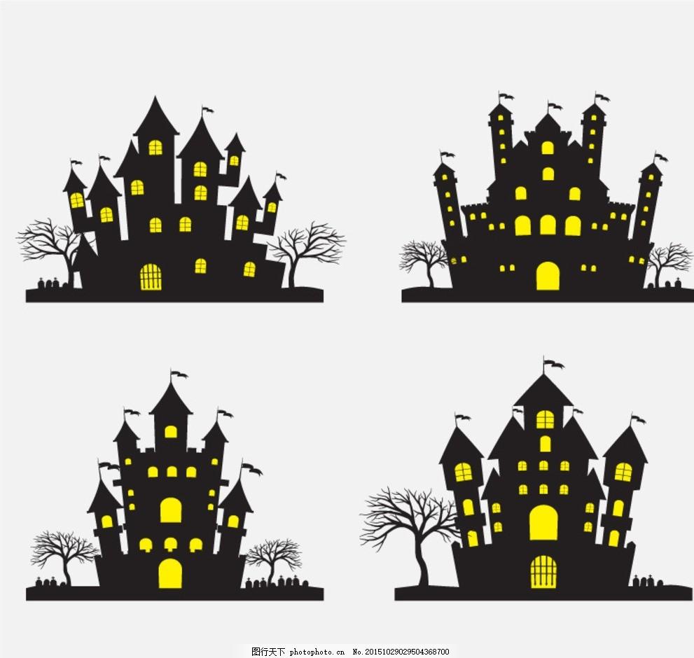创意万圣夜古堡 万圣节猫头鹰 卡通魔鬼 骷髅 甜品 万圣节宣传单 女巫