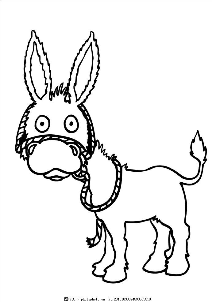 儿童画 可爱的小驴