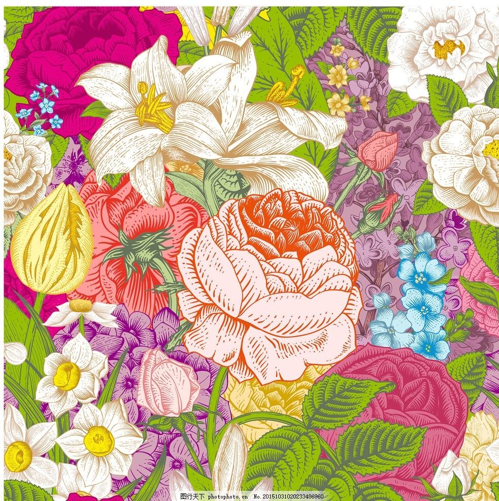 花朵背景 铅笔画花朵 花丛 绿叶 百合 红花