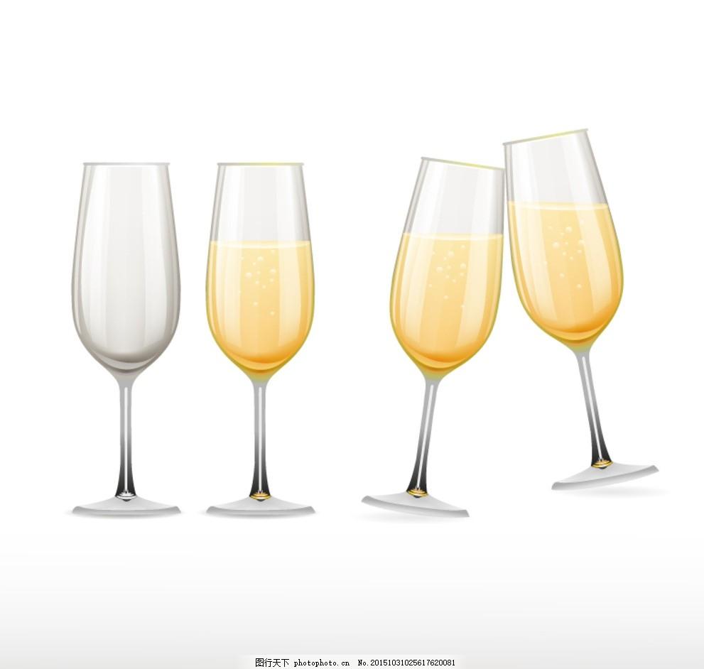 香槟杯设计矢量素材 香槟杯 酒杯 香槟 高脚杯 干杯 庆祝 玻璃杯 插画