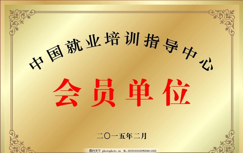 指导中心 会员单位 铜牌 模板 奖牌 设计 广告设计 广告设计 150dpi p