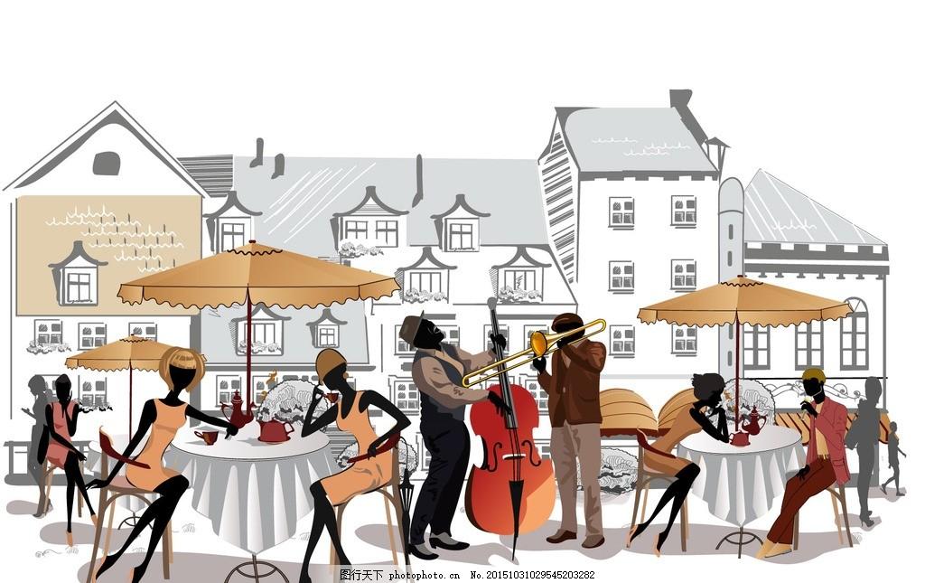 咖啡馆插画 女性插画 手绘插画 手绘街景 乐队 男性插画 大提琴