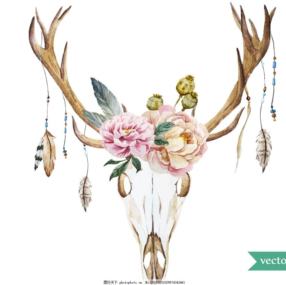 水彩装饰画 水彩装饰 水彩鹿头 水彩画 水彩花朵 水彩鲜花 水彩 花朵