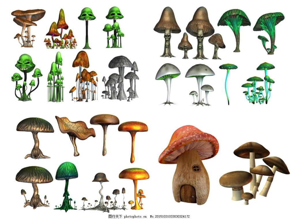 3d蘑菇素材 3d 蘑菇 蘑菇屋 毒蘑菇 鬼怪蘑菇 3d植物石头 设计 psd