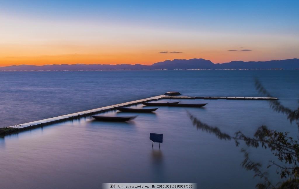 海 滇池 山水风景 自然风景 建筑景观 日落 摄影 自然景观 自然风景