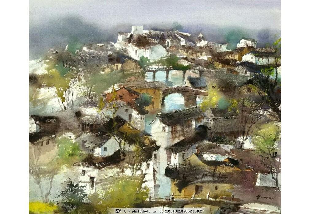 水彩画 水彩 乡村房屋 错落有致 房子 绿色          图片格式 设计