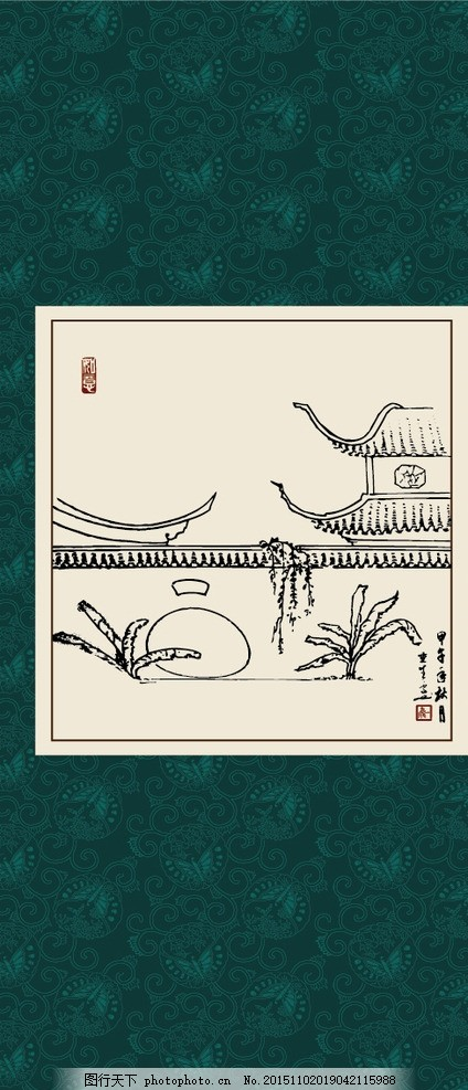 江南民居 绘画 白描 线描 手绘 国画 毛笔画 工笔 轮廓 印章 书法