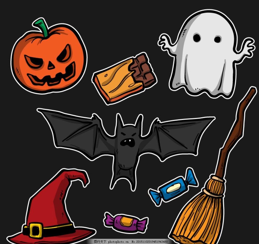 卡通 万圣夜 贴纸 万圣节 南瓜灯 南瓜头 巧克力 幽灵 蝙蝠 巫师帽图片