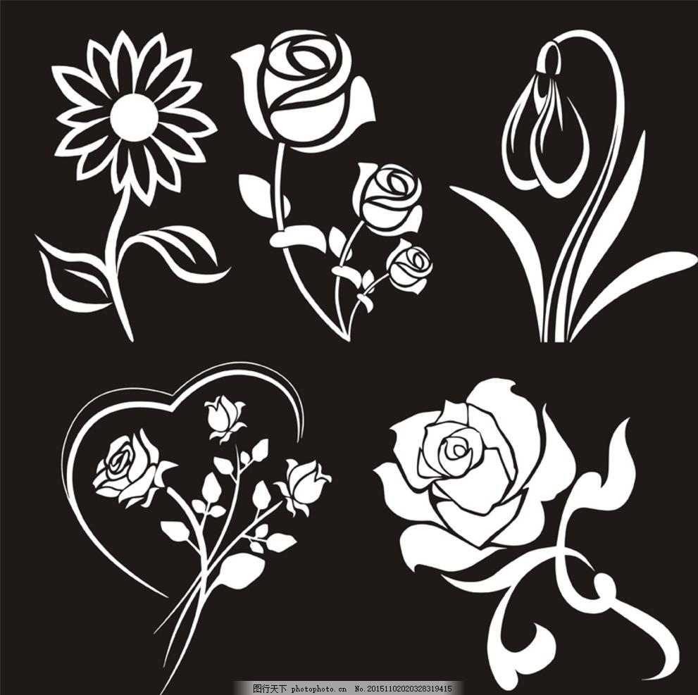 花卉 图案 玫瑰花 菊花 简笔画 雪滴花 t恤amp 图案 设计 底纹边框